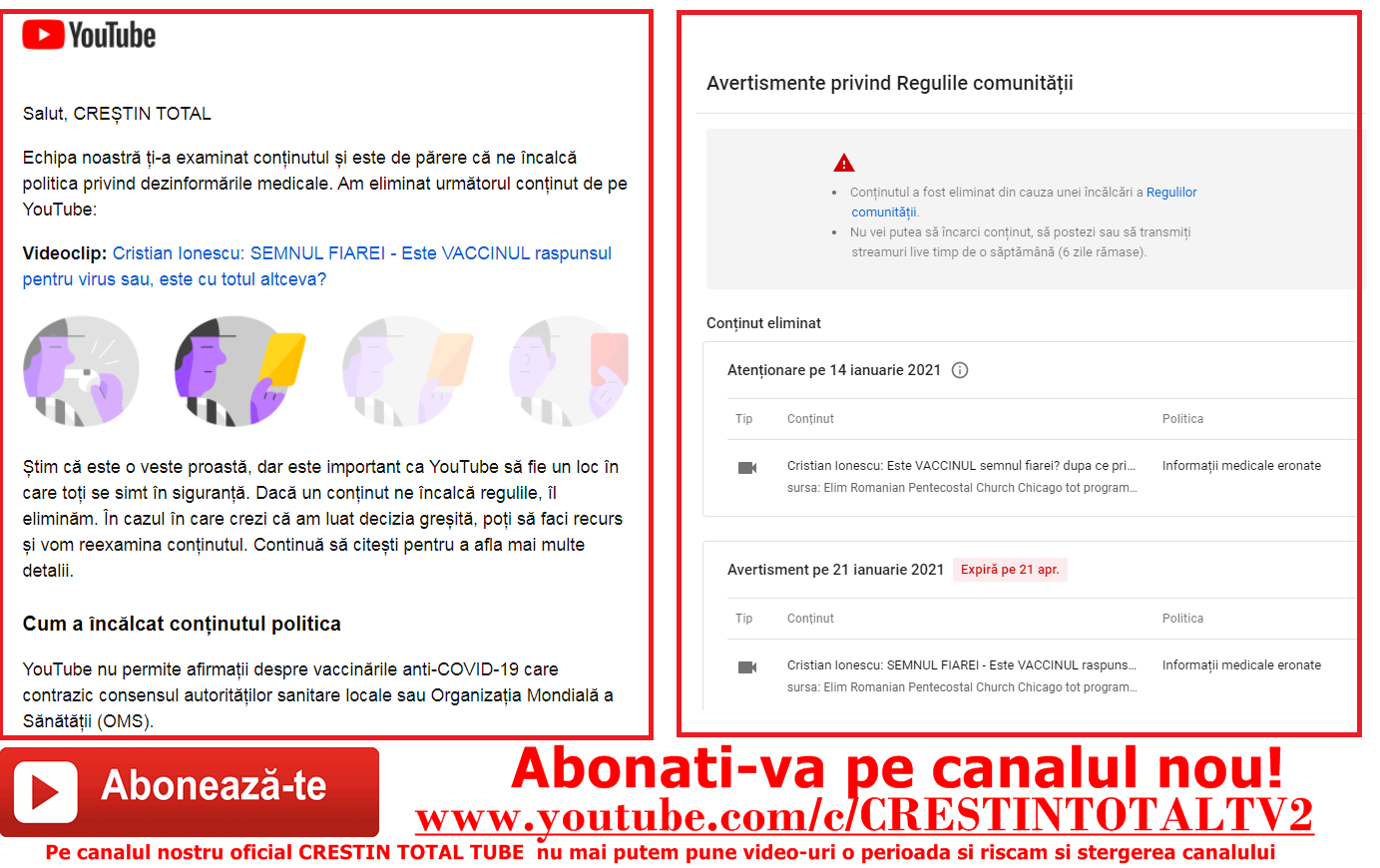 Cenzura! Canalul Crestin total Tube sanctionat de youtube de doua ori in ultima saptamana. Canalul risca sa fie șters de Youtube